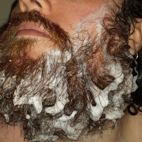 soapy beard washing